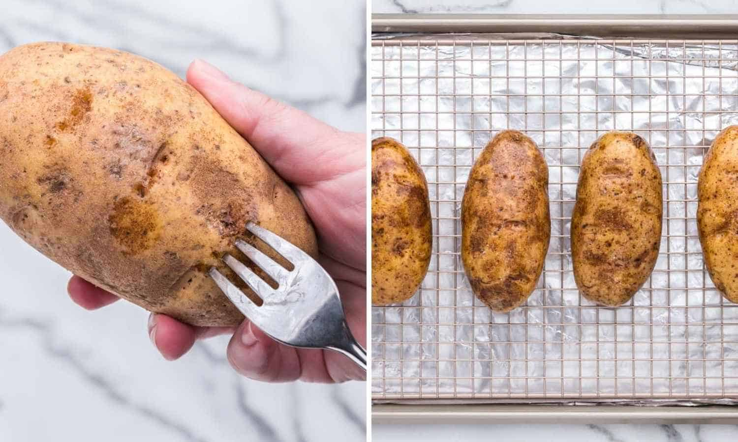 Two images showing how to pierce potatoes, and bake them.