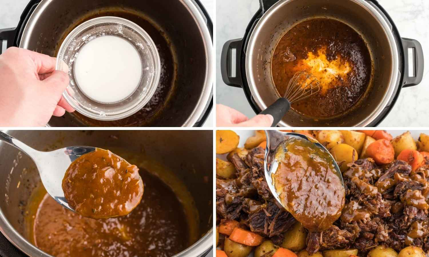 Collage of four images showing how to thicken the sauce with corn starch slurry