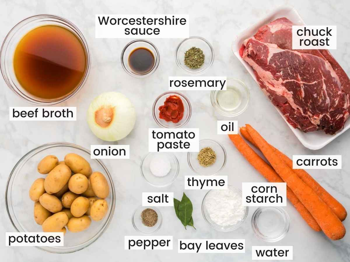 Ingredients needed to make Instant Pot Pot Roast including chuck roast, broth, onion, potatoes, carrots, and seasonings.