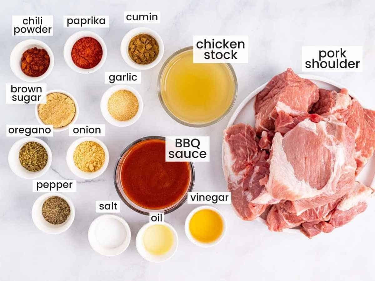Ingredients needed to make pulled pork including pork shoulder, and seasonings