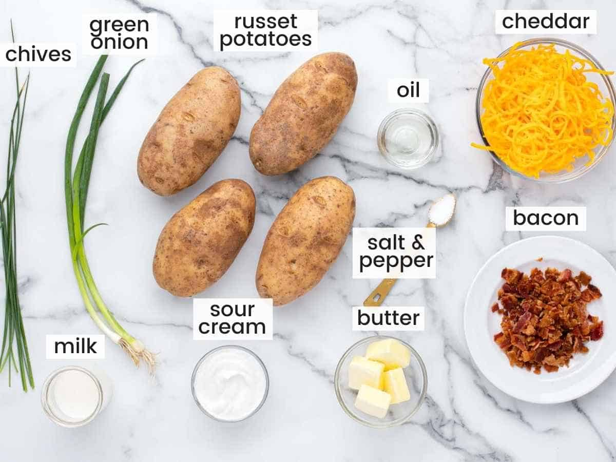 Ingredients needed for twice baked potatoes