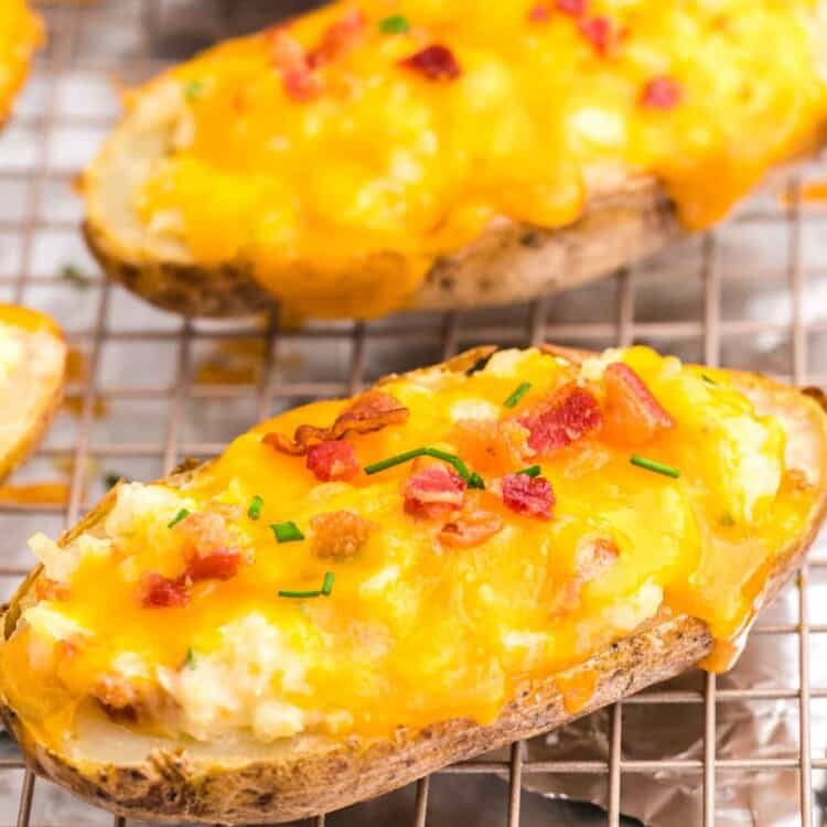 Twice baked potatoes placed on a wire rack