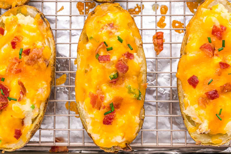 Overhead shot of the baked potatoes