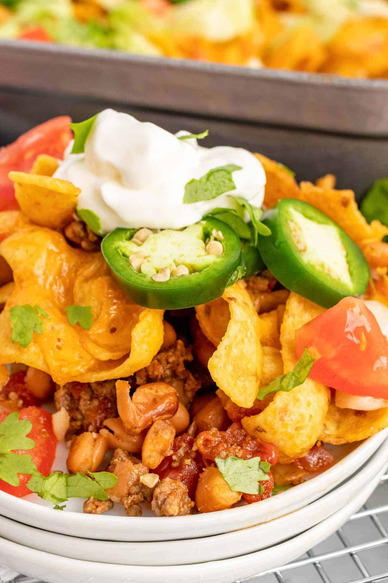 Walking taco casserole plated for one person