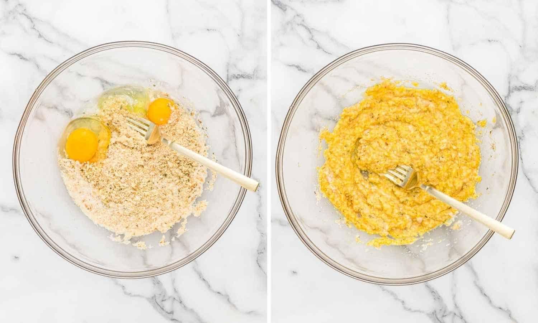 Combine Breadcrumbs with Milk and Eggs