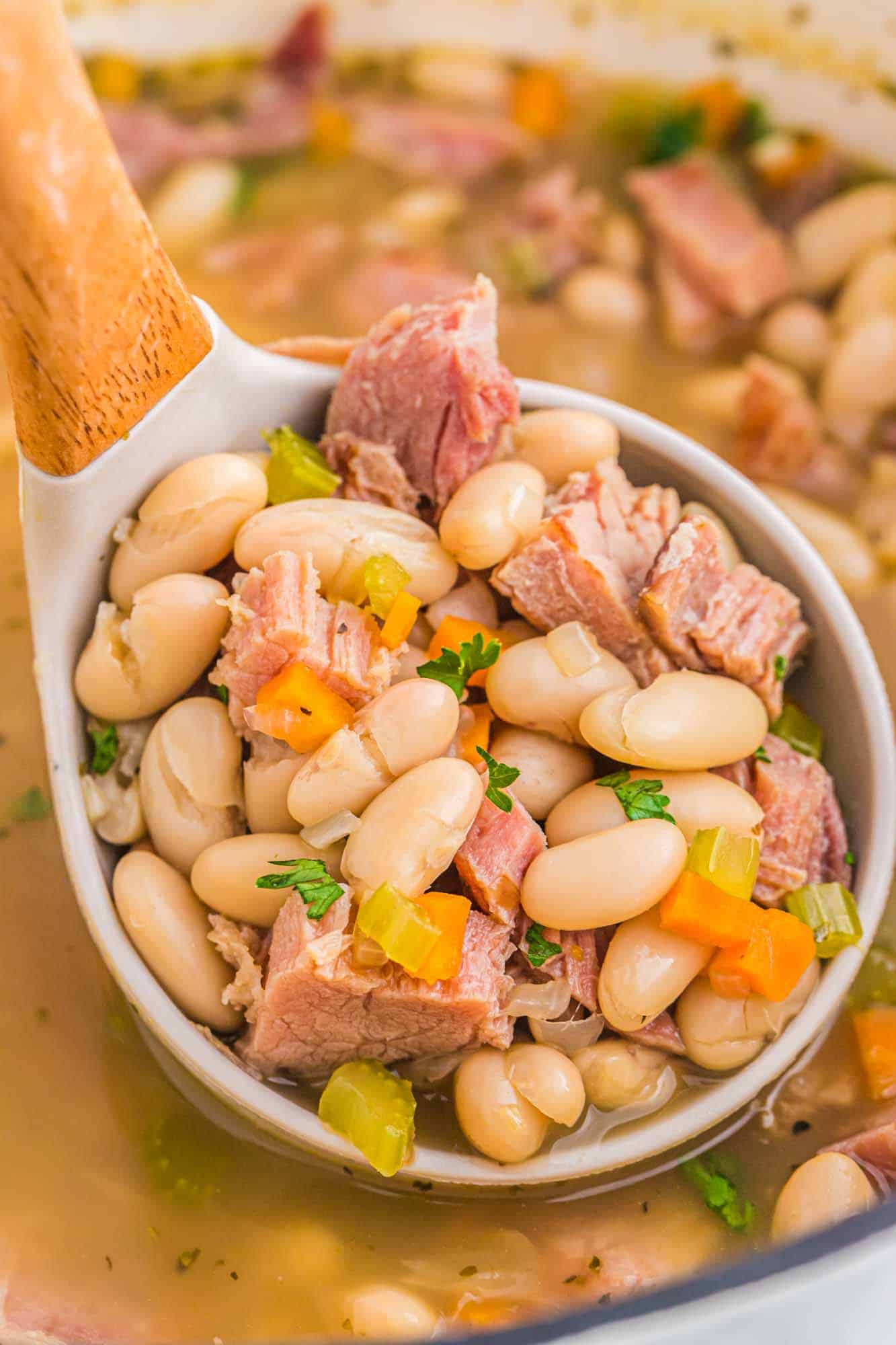 Close up shot of ham and bean soup in a ladle