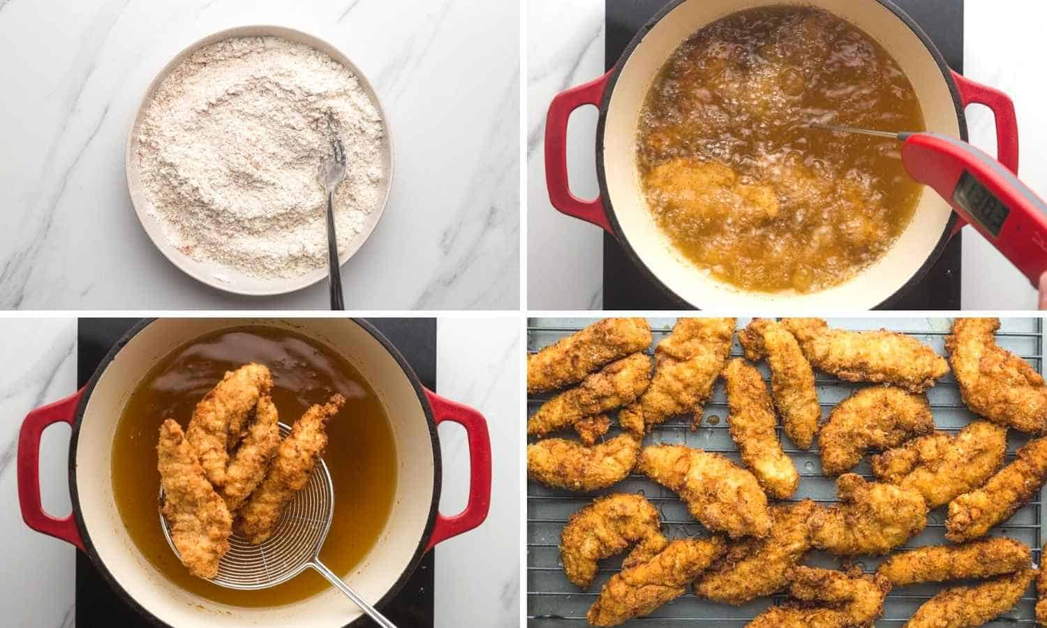 Collage of four images showing how to fry chicken tenders