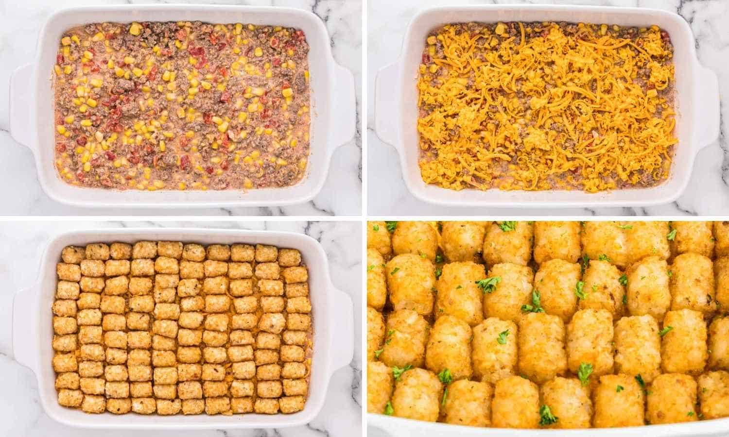 Collage of four images showing how to assemble and bake the casserole dish