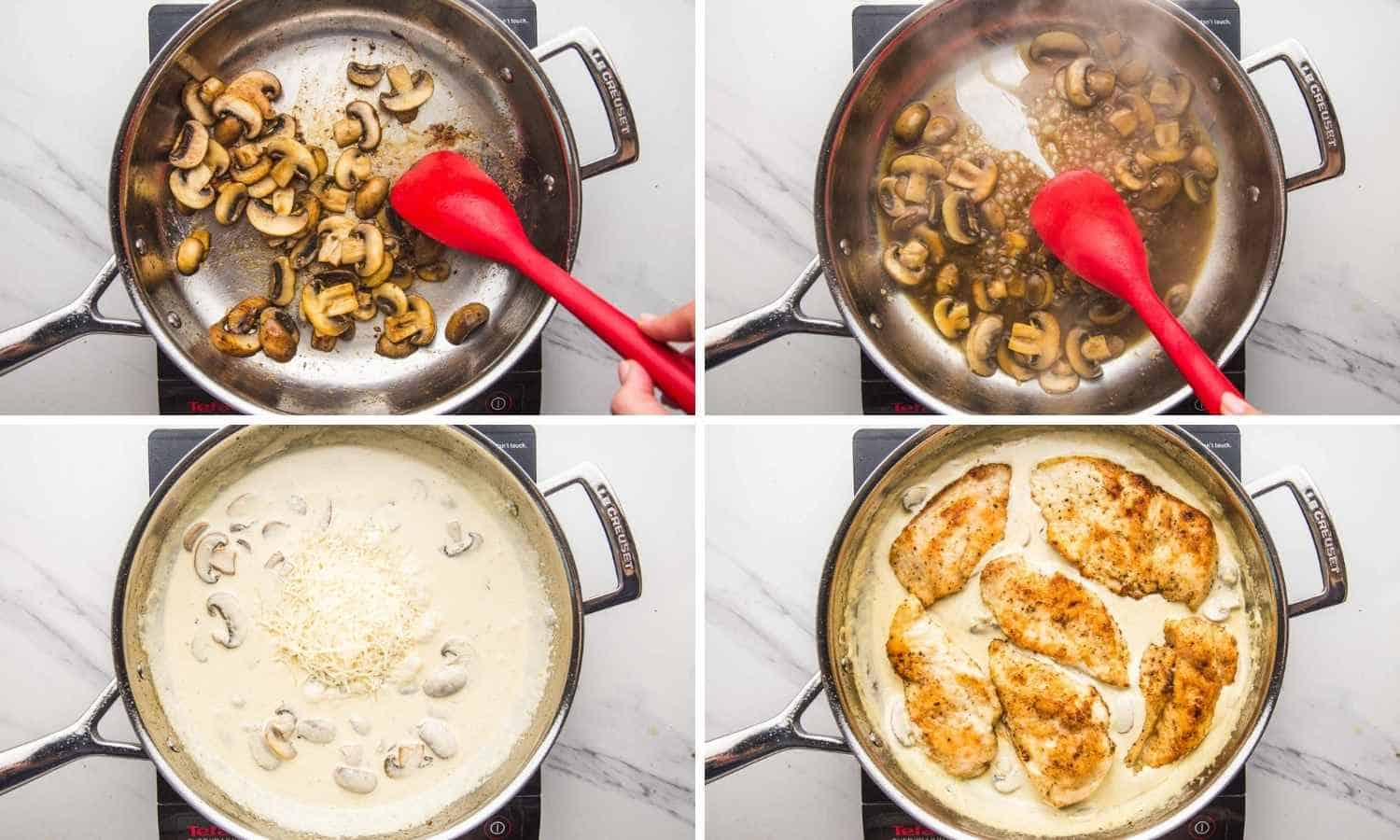 Collage of four images showing how to saute the mushrooms and make cream mushroom sauce for the chicken