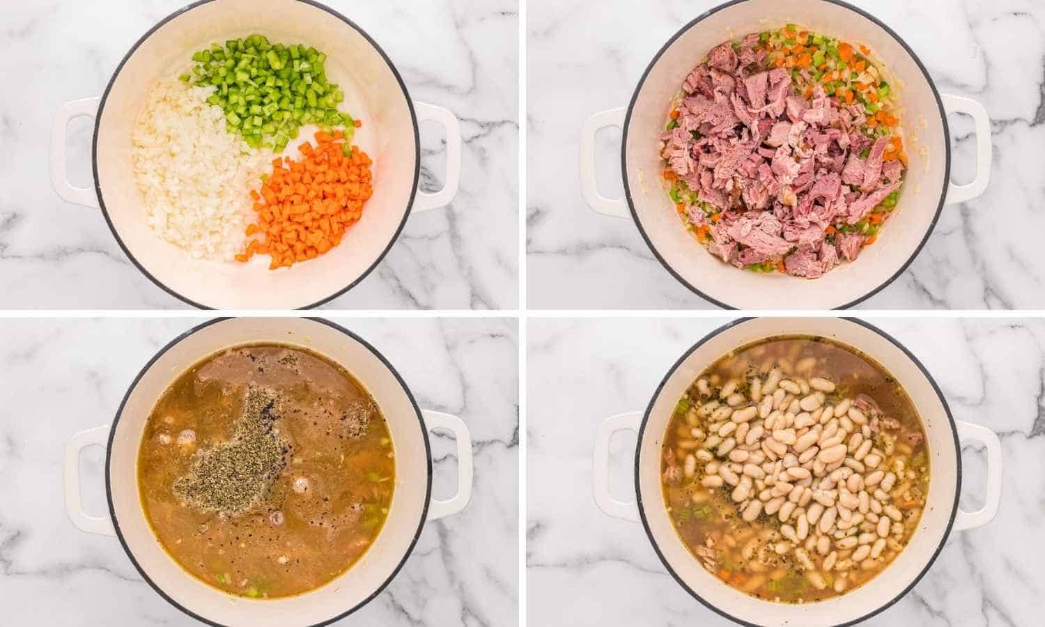Collage of 4 images showing how to make ham and bean soup in a dutch oven