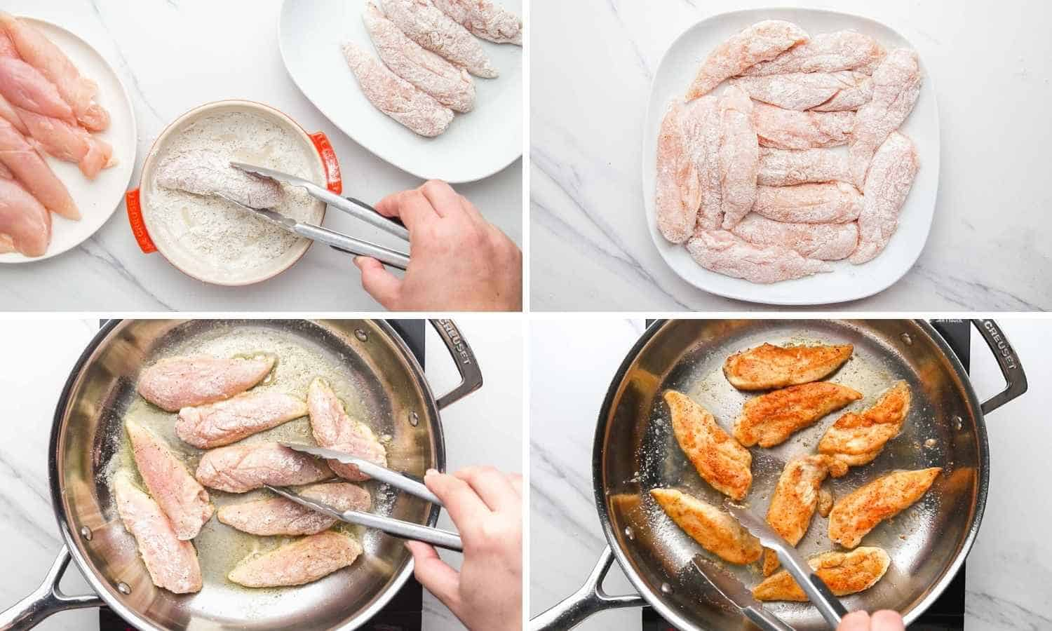 How to Make Honey Garlic Chicken Tenders shown in a collage of four images