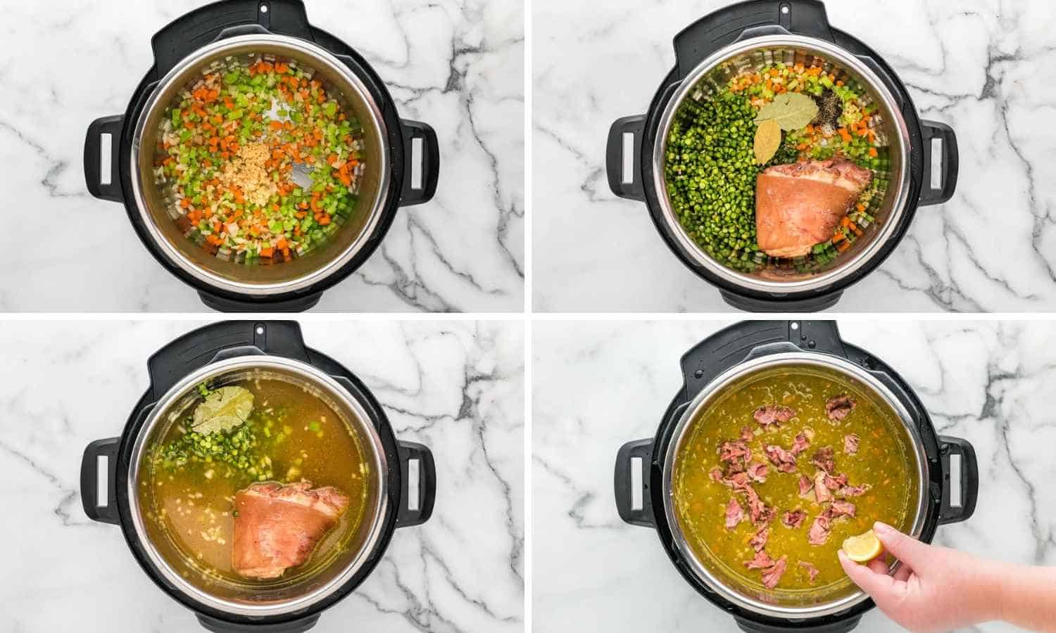 Collage of four images showing how to make split pea soup in the instant pot