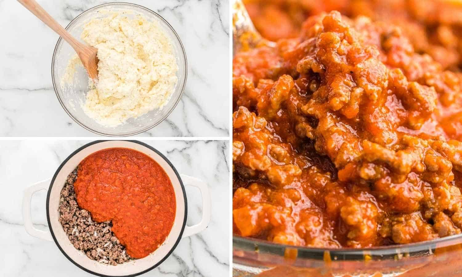 Collage of three images showing how to make ricotta mixture and meat sauce
