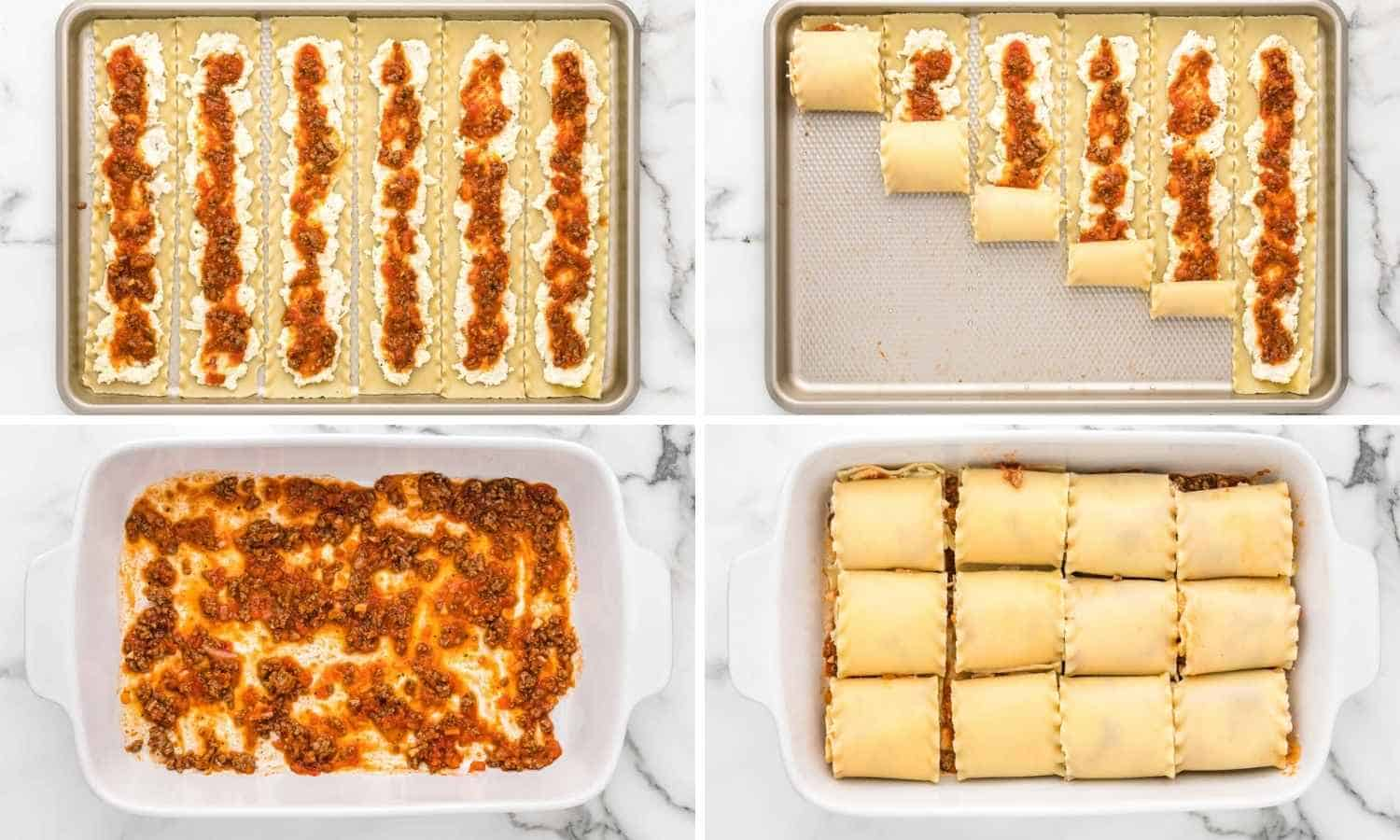 Collage of four images showing how to make lasagna roll ups