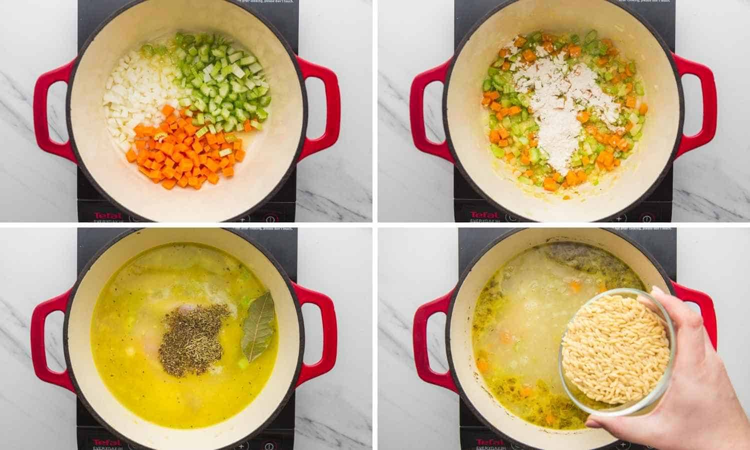 A collage of four images showing how to make chicken soup