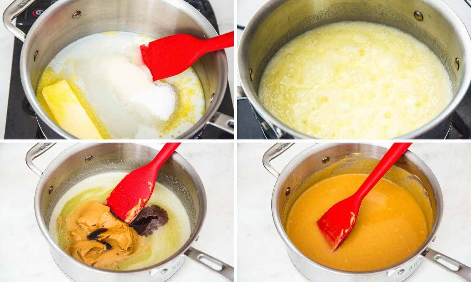 Collage of four images showing how to cook the no bake cookie mixture in a saucepan