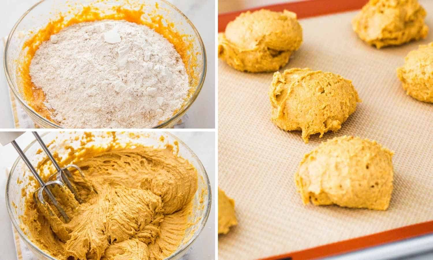 Collage of three images showing how to combine dry and wet ingredients then drop the cookie batter to bake