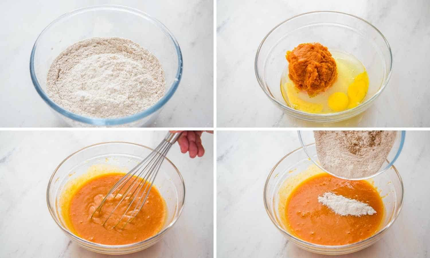 Collage of four images showing how to make pumpkin muffin batter