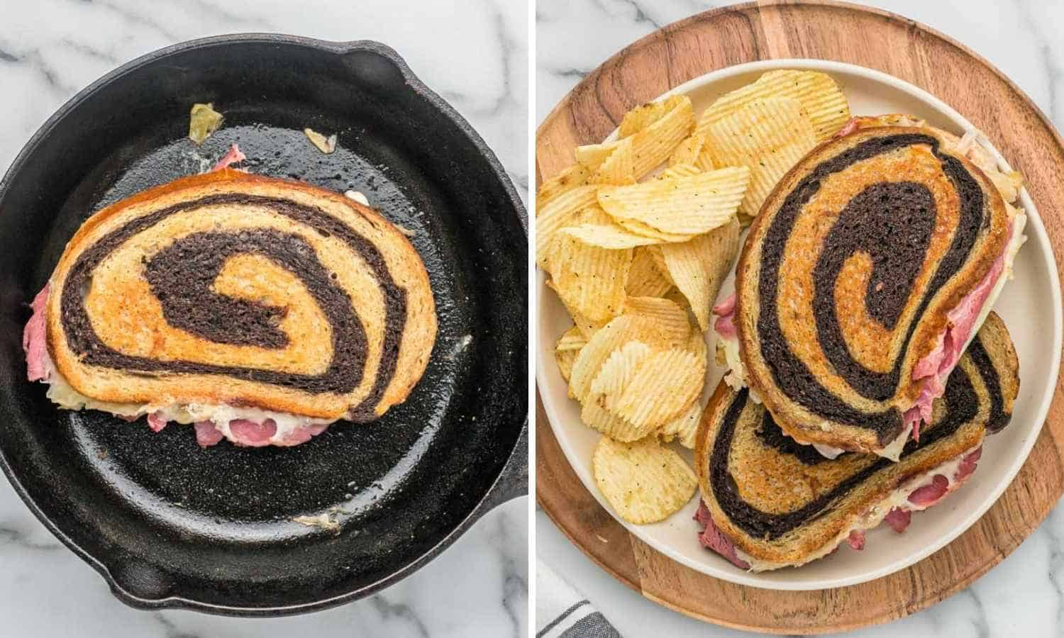 Collage of two images showing how to toast and serve a reuben sandwich
