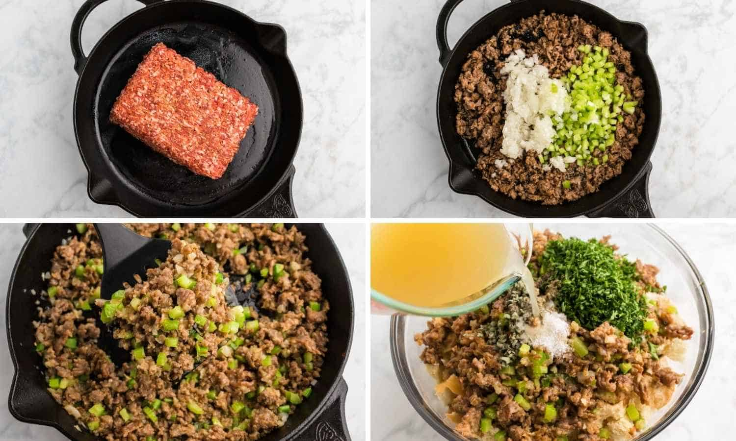 Collage of four images showing how to saute ground sausage, and then add the aromatics and add the toasted bread and stock