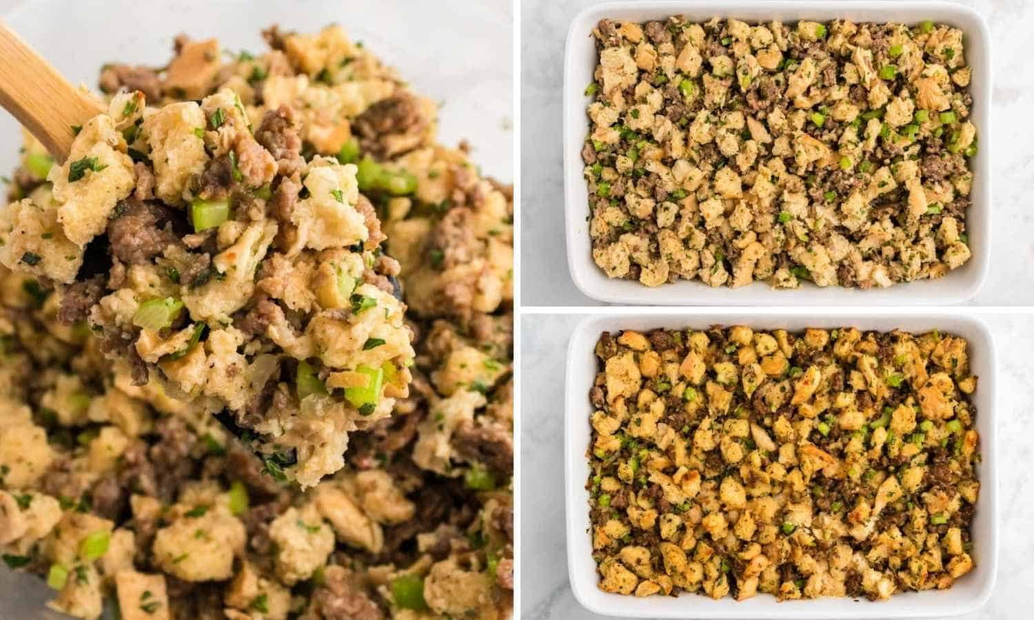 Collage of three images showing the stuffing mixture before and after baking