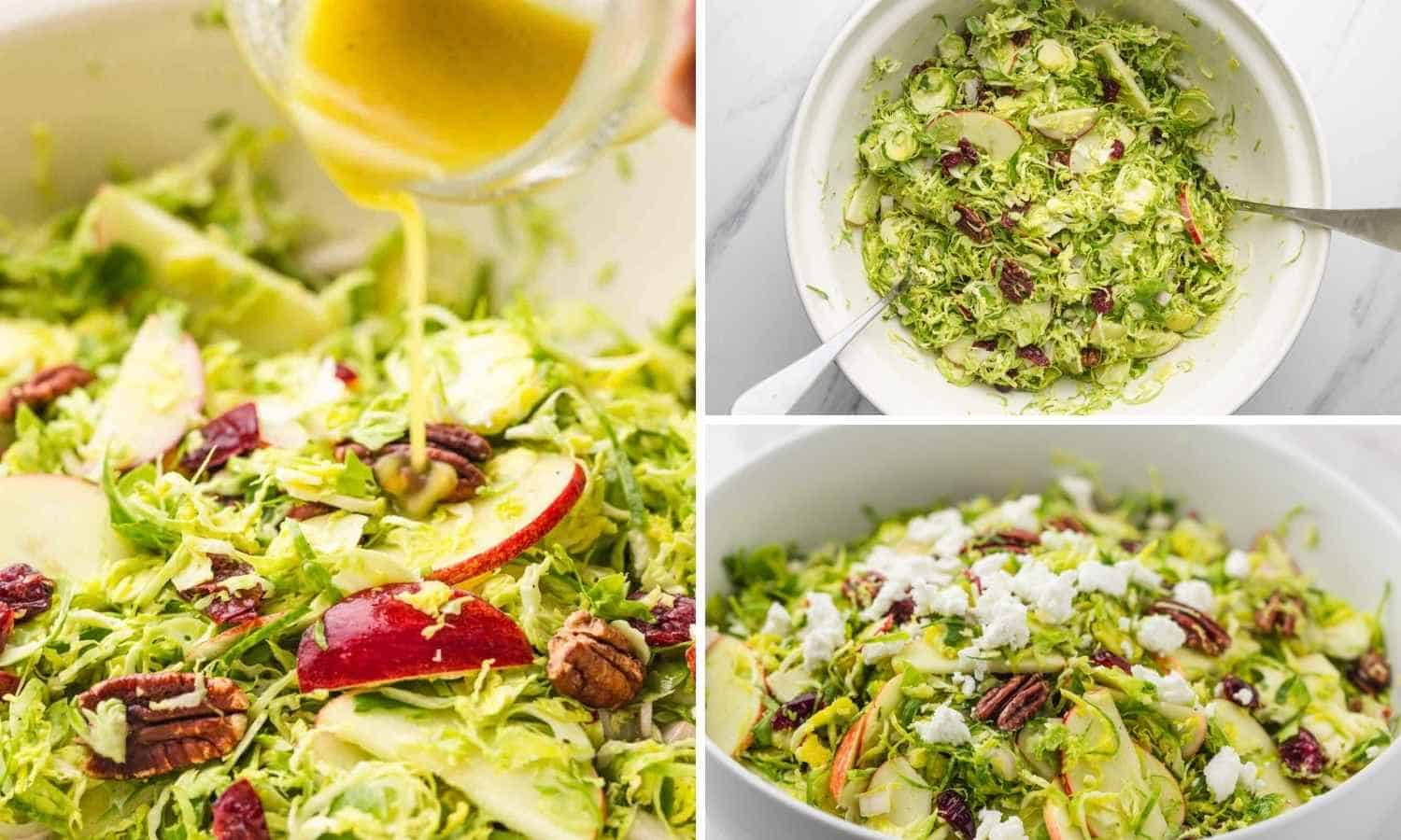 Drizzling dressing over salad, tossing, and topping with cheese.