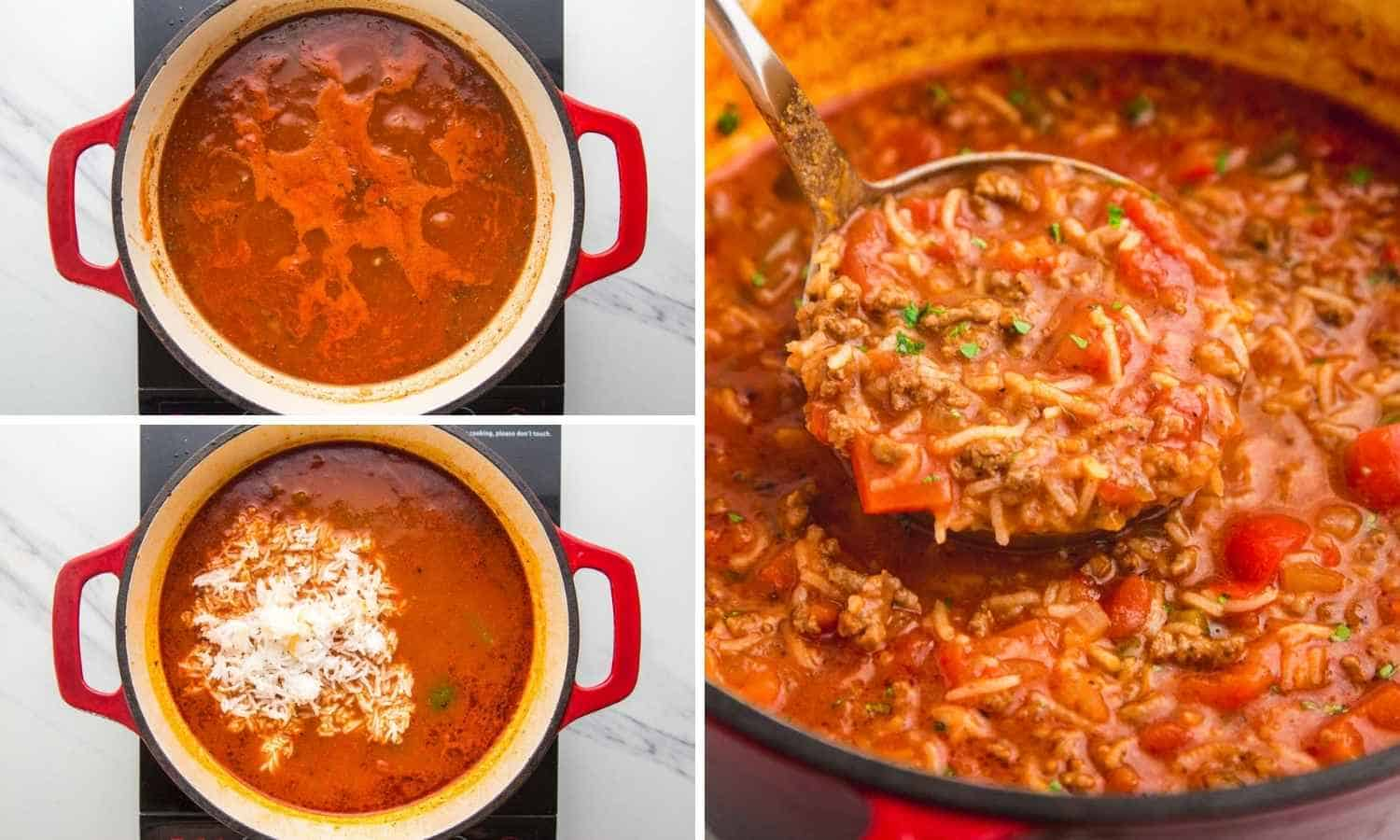 Collage of three images showing how to simmer the soup, add the rice, and mix it in the soup.