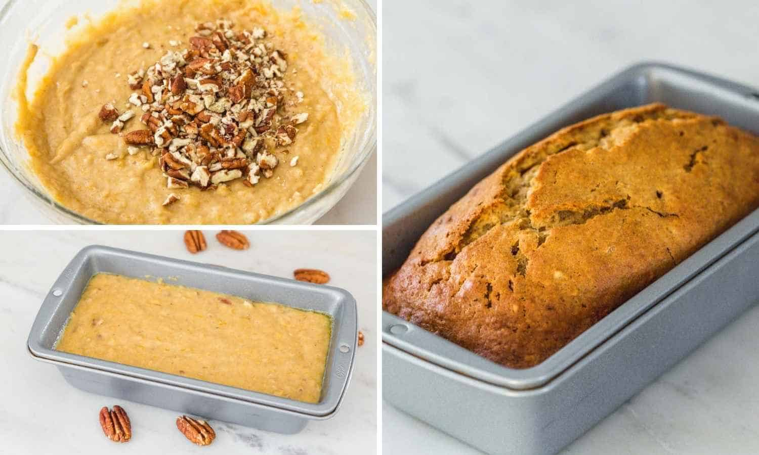 Collage of three images showing how to add pecans to the batter, pouring the batter into a loaf pan and bake it.
