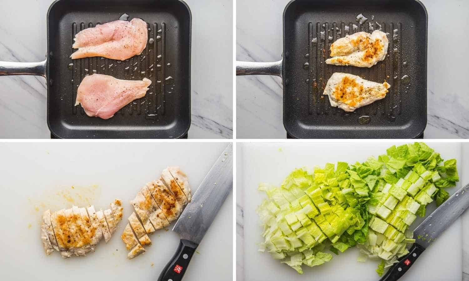 Collage of four images showing how to grill chicken, cut it up, and chop up the romaine lettuce.