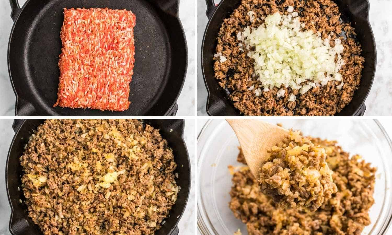 Collage of four images showing how to brown italian sausage with onion to make the stuffing