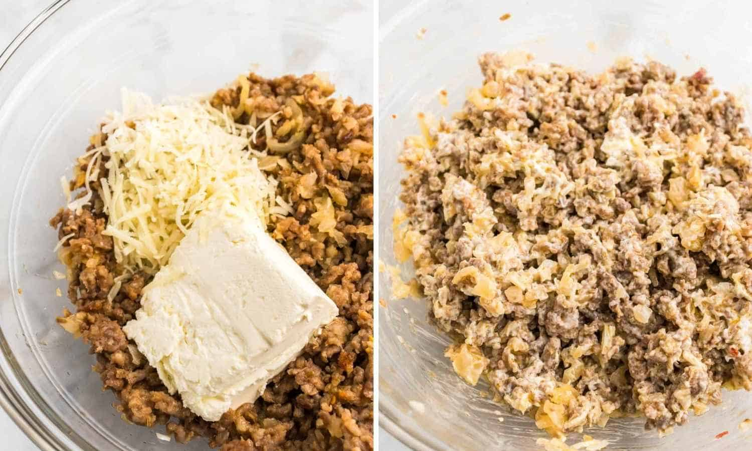 Adding cream cheese to the sausage mixture shown in 2 images