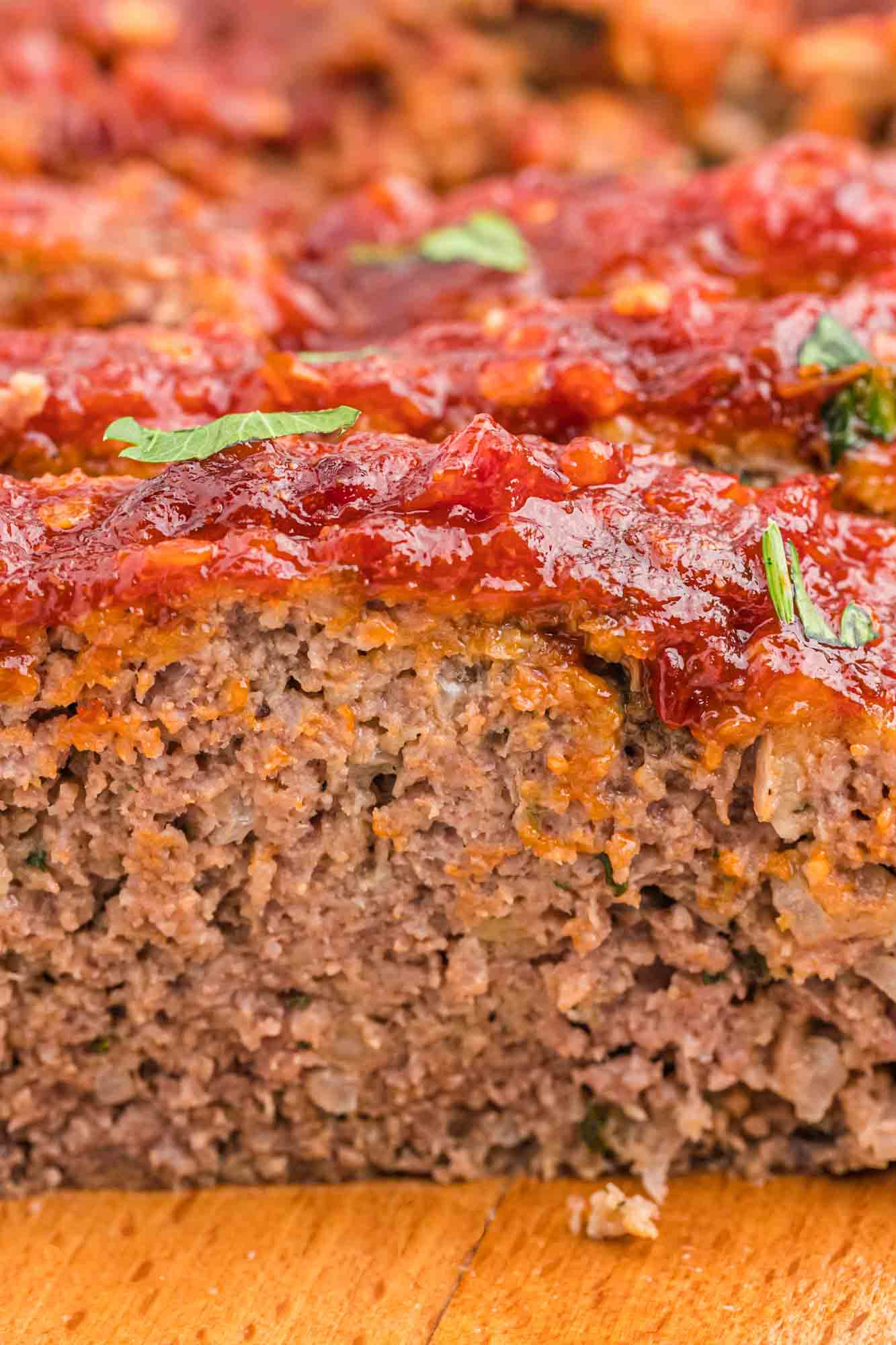 Close up shot of a meatloaf slice to show its texture