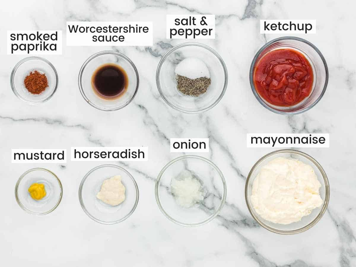 Ingredients needed to make a Russian dressing