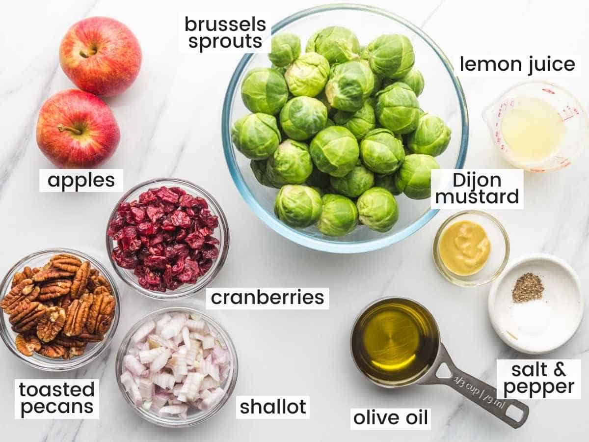 Ingredients needed to make shaved brussels sprouts salad