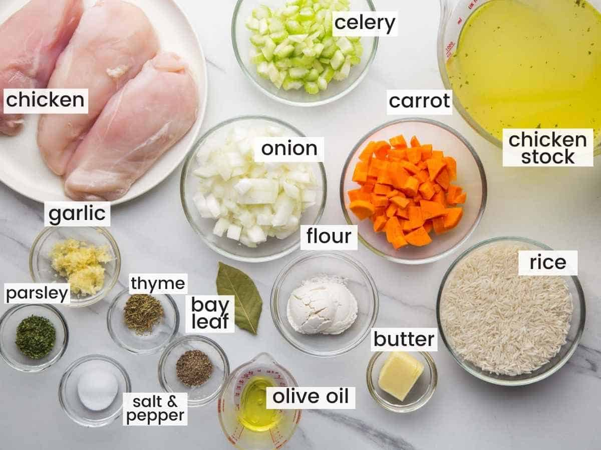 Ingredients needed to make chicken and rice soup