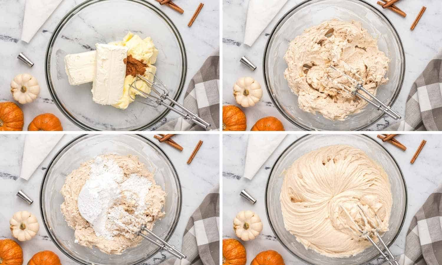 Collage of four images showing how to make cinnamon cream cheese frosting