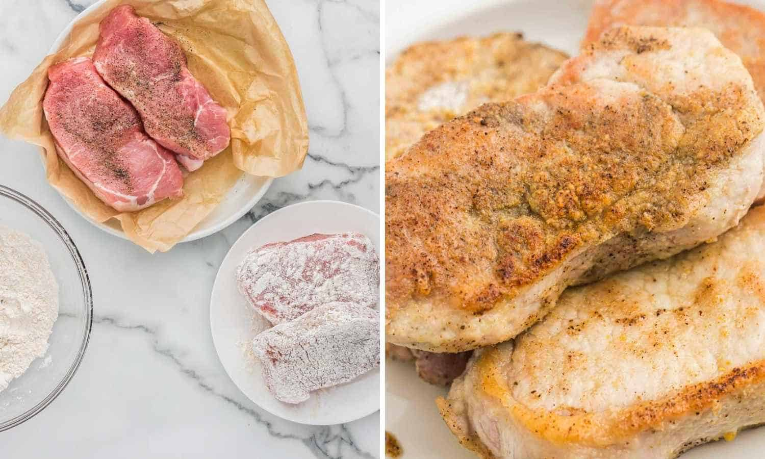Dredging the pork chops in flour and then browning them