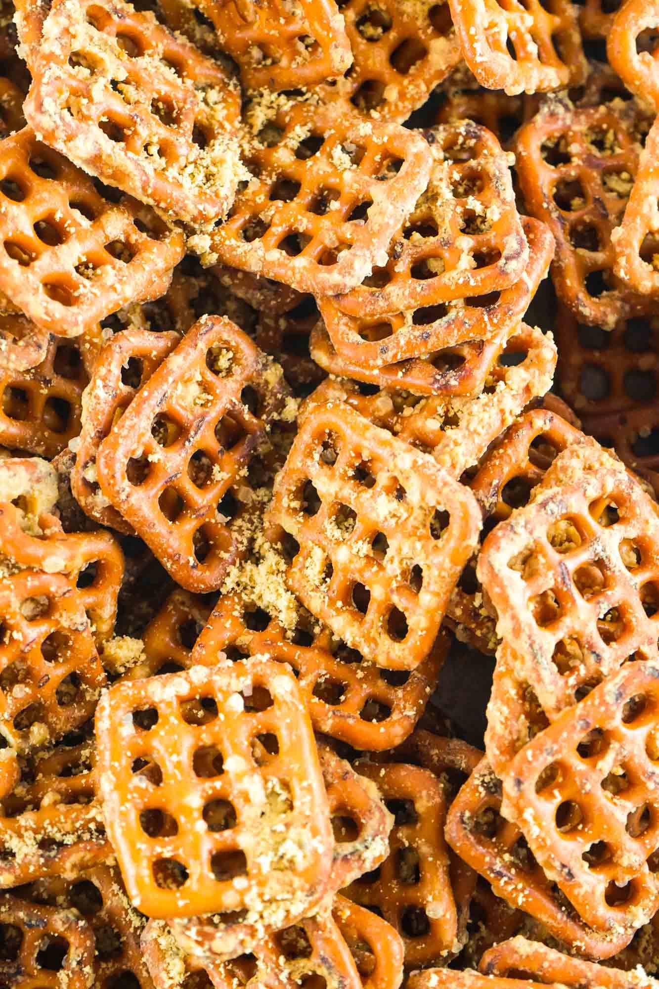 Close up shot of honey mustard pretzels