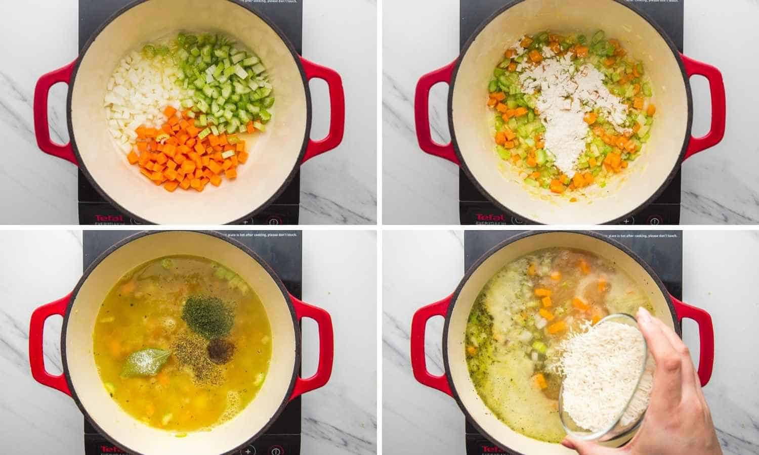 Collage of four images showing how to saute aromatics, add broth, and rice