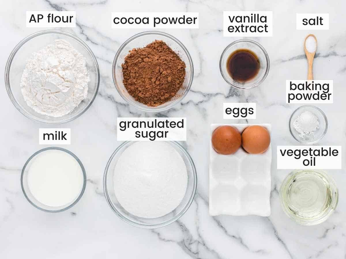 Ingredients Needed to Make Chocolate Cupcake Bases