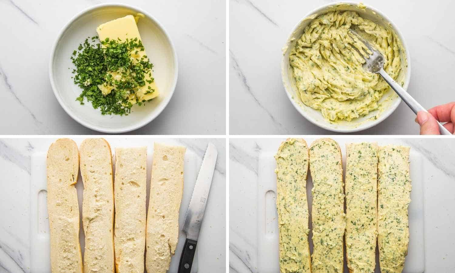 Collage of four images showing how to make the butter garlic spread, and spread it on the French bread baguette