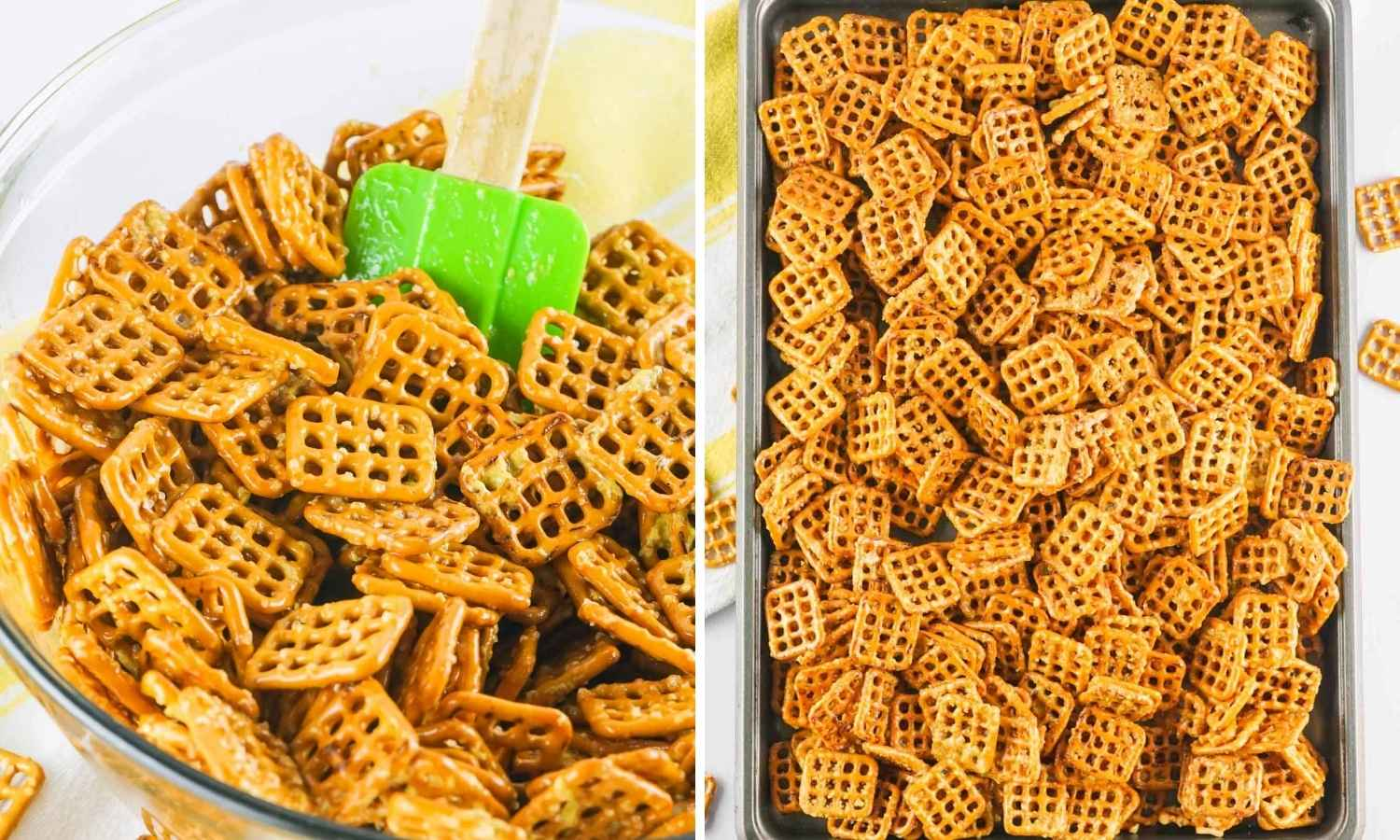 How to Make Honey Mustard Pretzels shown in a collage of two images