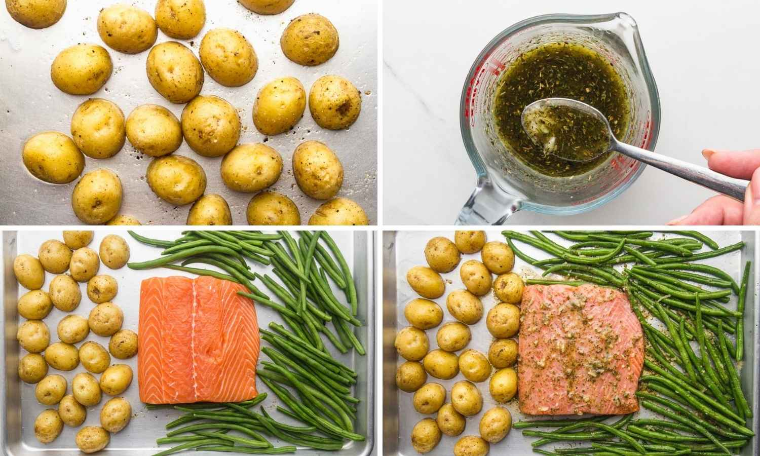 Collage of four images showing how to start roasting the potatoes, then make the sauce, and add the rest of the ingredients and roast them all.