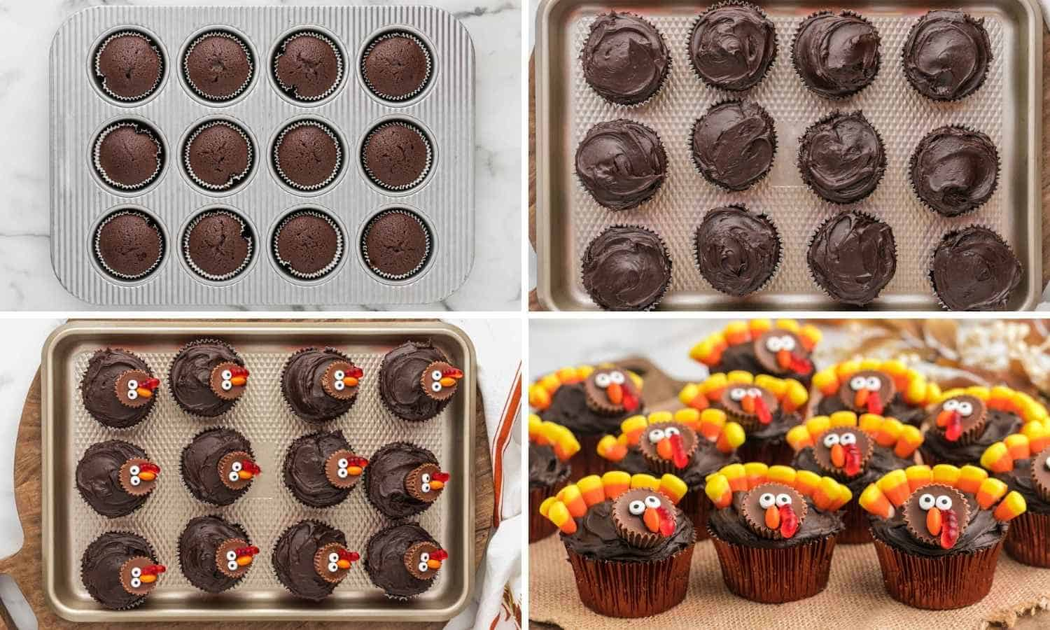 Collage of four images showing how to decorate cupcakes with turkey decorations