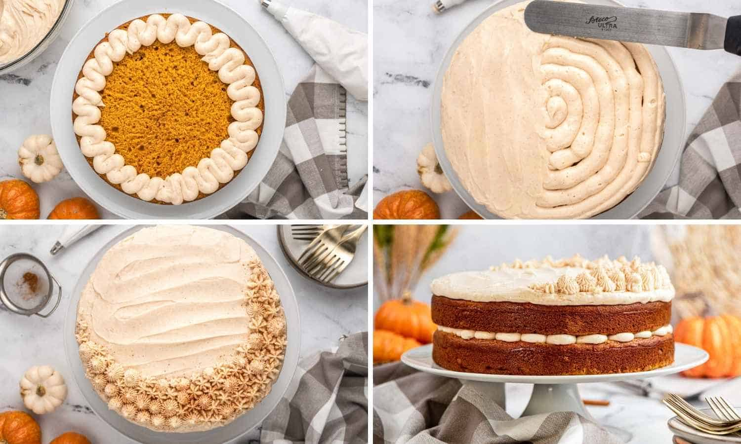 Collage of four images showing how to frost pumpkin cake