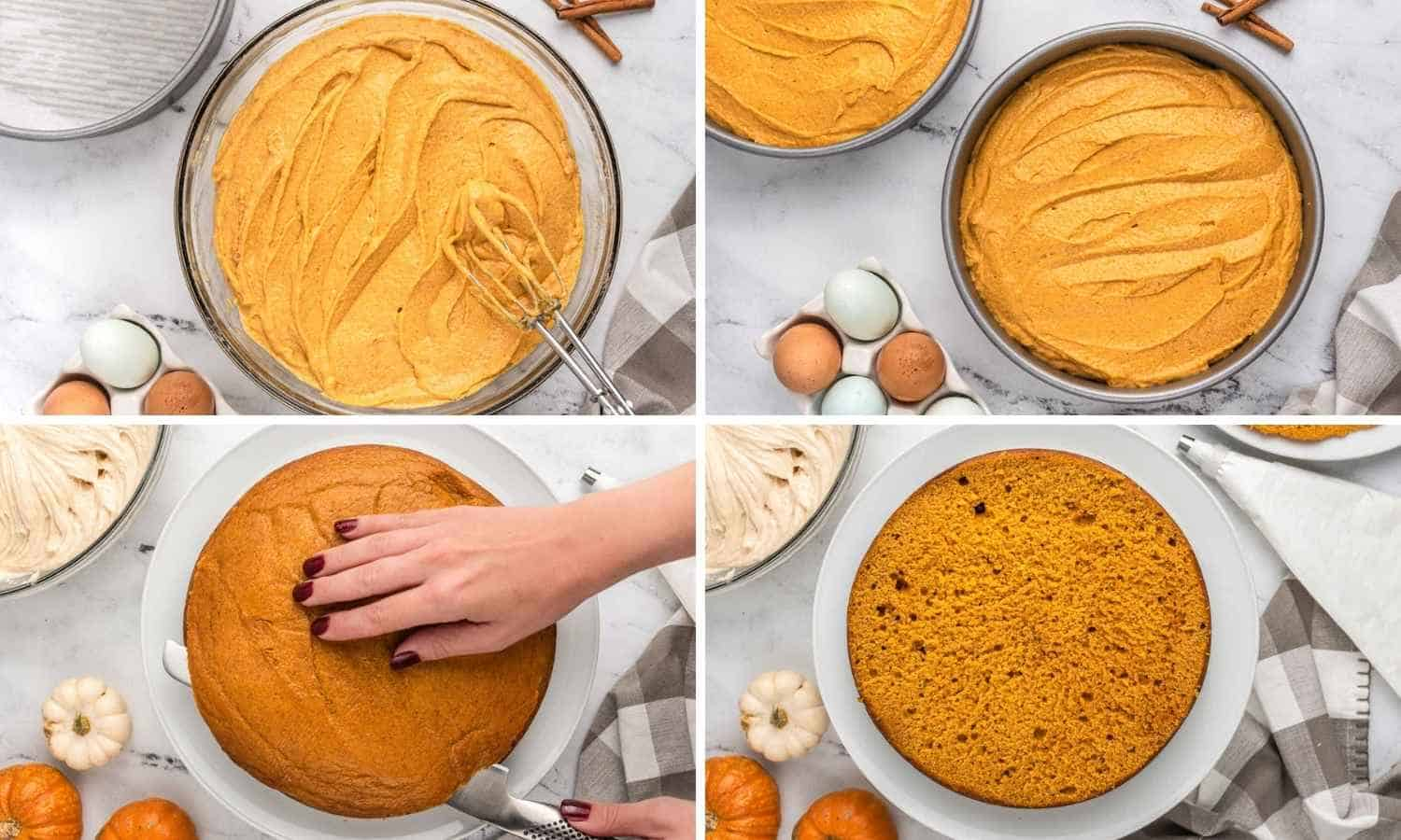 Collage of four images showing how to make pumpkin cake, and then cut it in the middle