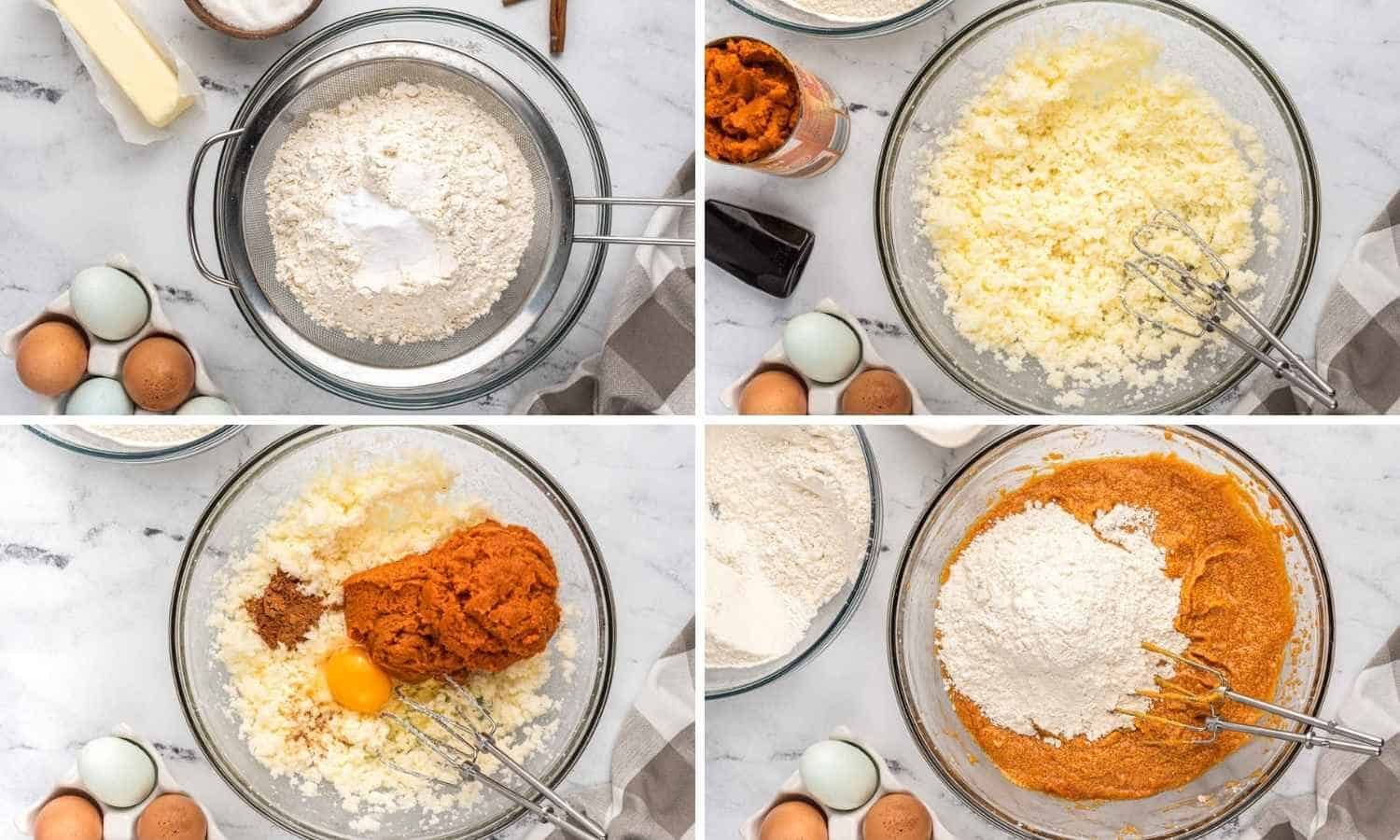 Collage of four images showing how to make pumpkin cake batter