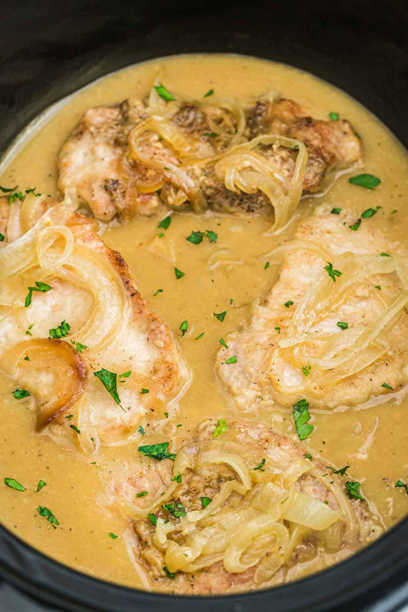 Pork chops in gravy in the crock pot