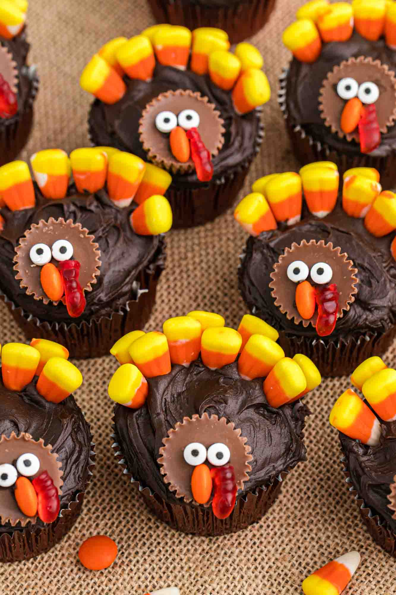 Overhead shot of Turkey cupcakes with candy corn