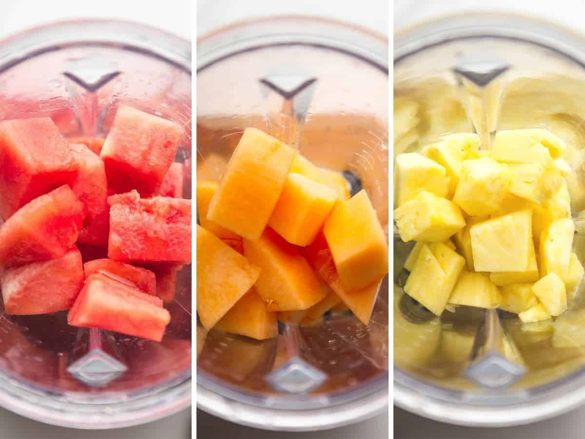 3 pictures of fruit in a blender before blending, left to right: watermelon, melon, and pineapple.